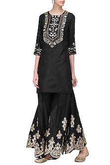 Black Embroidered Sharara Set by Samatvam by Anjali Bhaskar