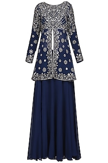 Midnight Blue Embroidered Tunic with Skirt and Dupatta