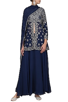 Midnight Blue Embroidered Tunic with Skirt and Dupatta by Samatvam by Anjali Bhaskar