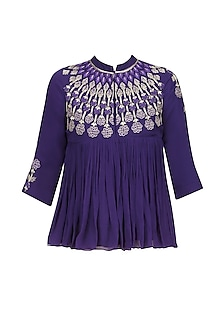 Purple Resham Embroidered High Neck Top with Beige Pants