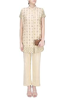 Cream Gota Patti Work Kaftan Style Jacket with Cream Pants by Samatvam By Anjali Bhaskar