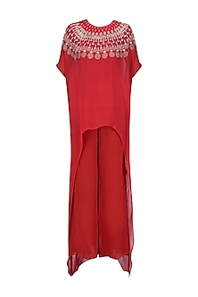Crimson Red Resham Embroidered High Low Kurta with Red Pants by Samatvam By Anjali Bhaskar