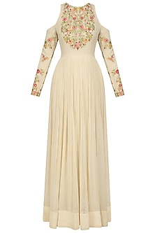 Ivory Floral Embroidered Cold Shoulder Anarkali