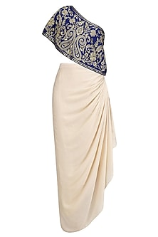 Blue Floral Embroidered One Shoulder Top with Cream Drape Skirt