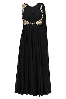 Black and Gold Floral Embroidered Drape Anarkali Kurta