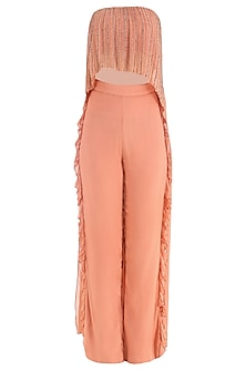 Coral Embroidered Tube Top with Frill Pants