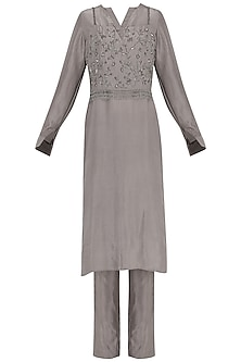 Grey Embroidered Tunic with Straight Pants by Samatvam By Anjali Bhaskar