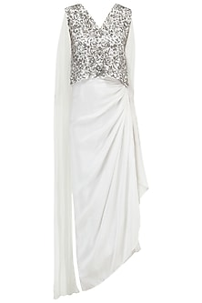 White Embroidered Top with Draped Skirt