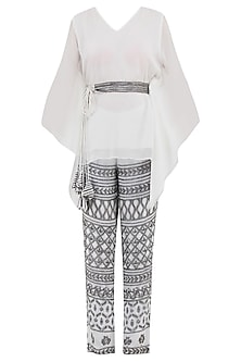 White Kaftan Top with Embroidered Pants and Belt