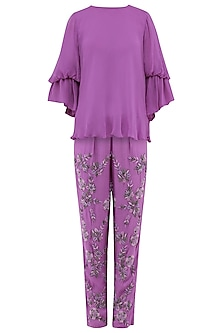 Violet Embroidered Pants with Ruffle Top by Samatvam By Anjali Bhaskar