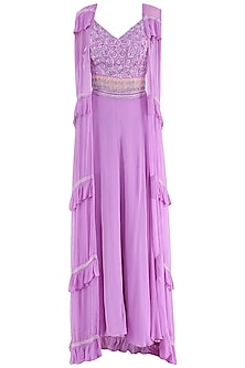Violet Embroidered Bustier, Skirt and Frill Cape Set