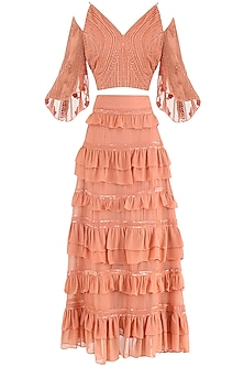 Coral Embroidered Top with Frill Skirt