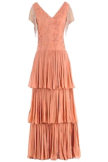 Coral Embroidered Tiered Gown