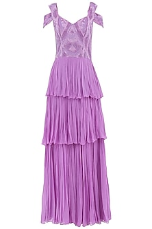 Violet Embroidered Tiered Gown