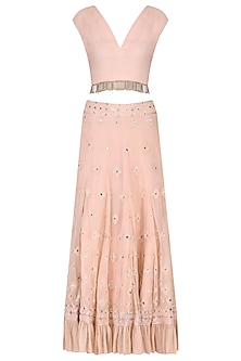 Rose Pink Crop Top and Lucknowi Skirt Set by Samatvam By Anjali Bhaskar