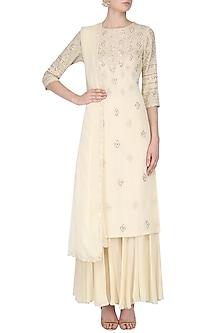 Beige Lucknowi Work Kurta and Skirt Set by Samatvam By Anjali Bhaskar