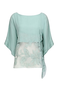 Blue Floral Applique Work Kaftan Style Top