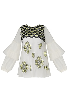 Off White Embroidered Sheer Top