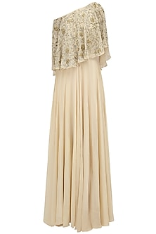 Cream, Gold and Silver Embroidered Off Shoulder Cape Gown by Samatvam By Anjali Bhaskar