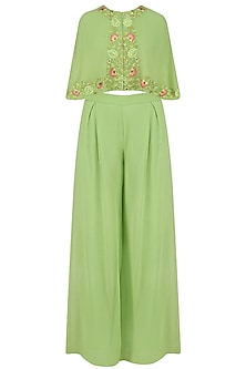 Mint Green Front Open Embroidered Cape and Flared Pants Set by Samatvam By Anjali Bhaskar