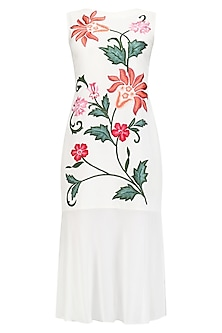 White Floral Embroidered Drop Waist Dress