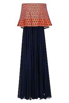 Navy Blue and Orange Resham Work Off Shoulder Cape Gown