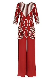 Crimson Red Gota Patti Embroidered Kurta and Pants Set