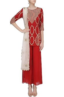 Crimson Red Gota Patti Embroidered Kurta and Pants Set by Samatvam By Anjali Bhaskar