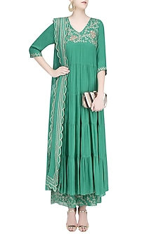 Jade Green Flaral Embroidered Flared Anarkali Set by Samatvam By Anjali Bhaskar