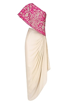 Hot Pink Floral Embroidered One Shoulder Top with Cream Drape Skirt