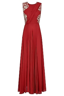 Crimson Red Floral Embroidered Drape Gown
