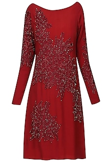 Burgundy Thread and Beads Embellished Shift Dress
