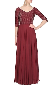 Burgundy Sequins and Beads Embellished Floor Length Gown by Samatvam By Anjali Bhaskar