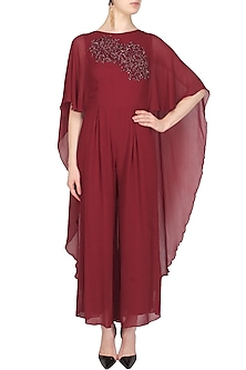Burgundy Thread and Cutdana Embroidered Cape Jumpsuit by Samatvam By Anjali Bhaskar