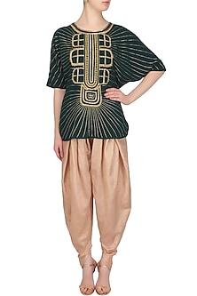 Teal Green Thread and Dabka Embroidered Kaftan Top and Gold Dhoti Pants Set by Samatvam By Anjali Bhaskar