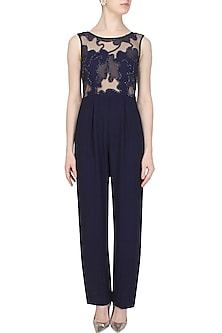 Midnight Blue Cutwork Cutdana Embellished Sheer Jumpsuit by Samatvam By Anjali Bhaskar