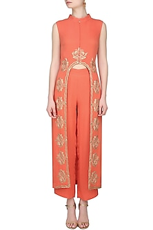 Coral and Gold Embroidered Kurta with Pants by Samatvam By Anjali Bhaskar