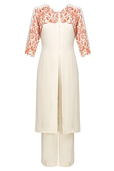 Cream and Orange Embroidered Front Open Kurta with Pants