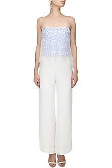 White and Blue Embroidered Tube Top with Attached Sheer Cape and Palazzo Pants by Samatvam By Anjali Bhaskar