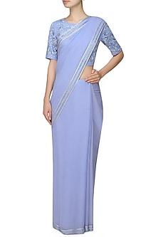 Blue saree with an embellished blouse and border by Samatvam By Anjali Bhaskar