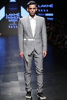Grey Striped Asymmetric Blazer With Side Belt by Sayantan Sarkar Men