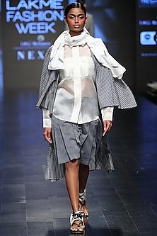 Grey Striped Kimono Style Shrug by Sayantan Sarkar
