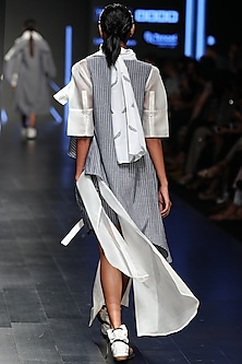 Grey Striped Fitted Shorts by Sayantan Sarkar