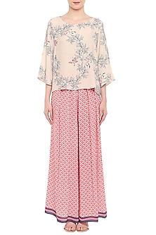 Off White Printed Top With Pink Palazzo Pants by Soup by Sougat Paul