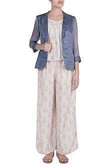 Off White Floral Printed Crop Top With Flared Pants & Jacket by SOUS
