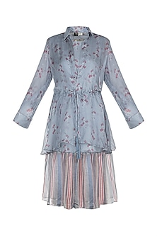 Sky Blue Printed Dress With Jacket by SOUS