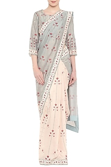 Teal Green & Off White Embroidered Printed Saree Set by Soup by Sougat Paul