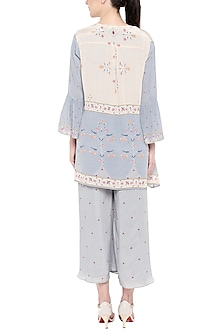 Greyish Blue & Off White Printed Jumpsuit With Jacket by Soup by Sougat Paul