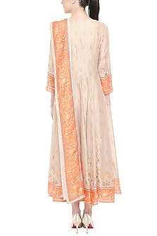 Orange & Beige Embroidered Printed Anarkali With Dupatta by Soup by Sougat Paul