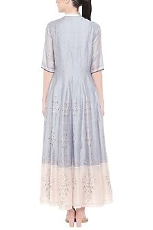 Blue & Off White Embroidered Printed Maxi Dress by Soup by Sougat Paul